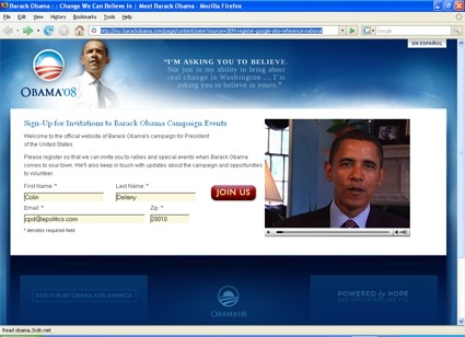 Obama landing page screenshot
