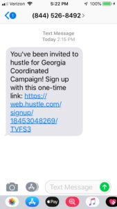 Text from Hustle to Volunteers inviting them to send SMS for campaign