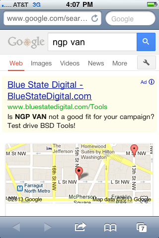 Blue State Digital search ad