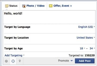 Facebook post-targeting screenshot