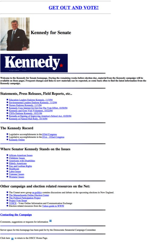 Ted Kennedy 1994 campaign website