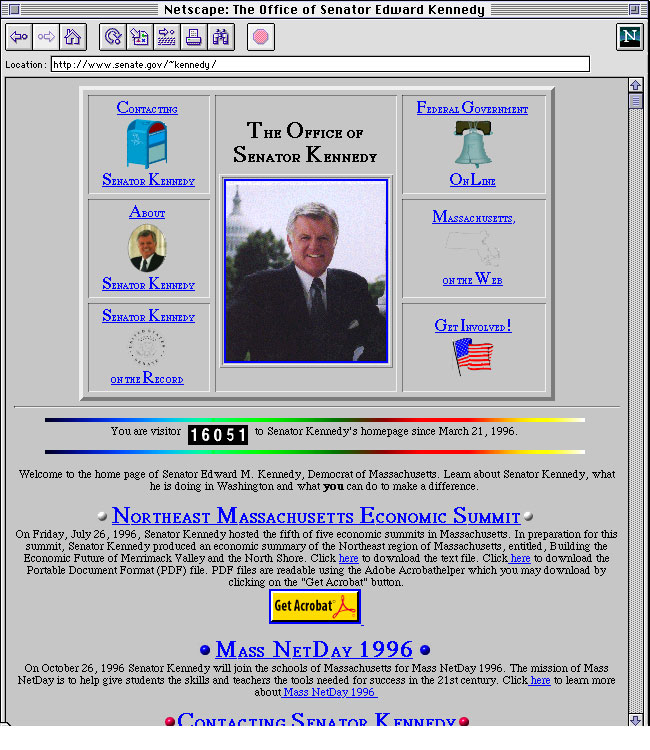 Ted Kenndy 1996 website