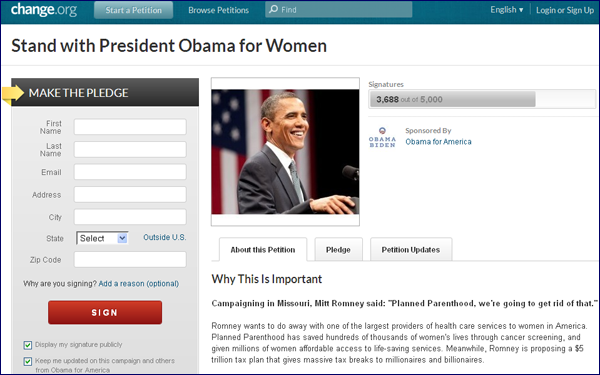 Obama petition on Change.org