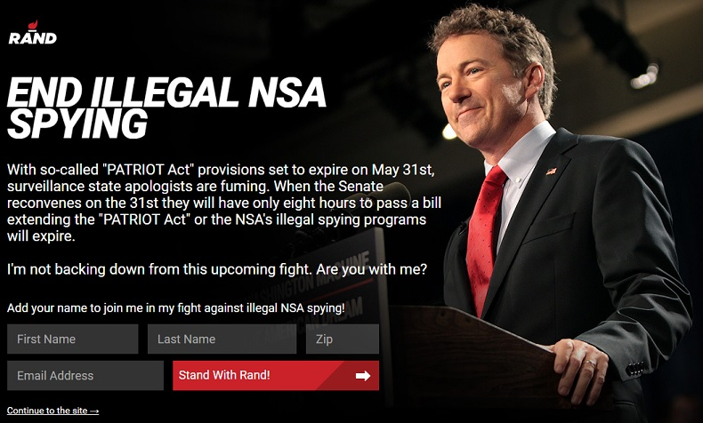 Rand Paul splash page