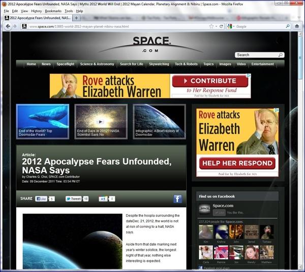 Elizabeth Warren ad featuring Karl Rove on Space.com