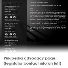 Wikipedia SOPA activism page