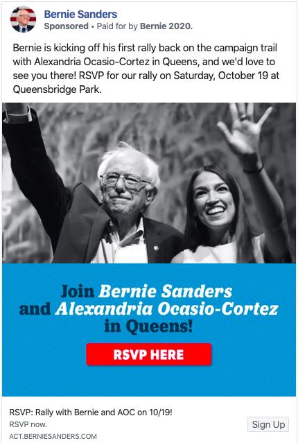 Bernie Sanders list-building digital ad