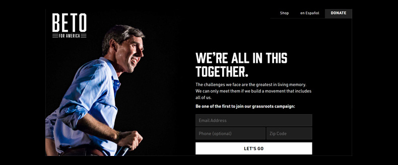 Beto O'Rourke campaign website at launch