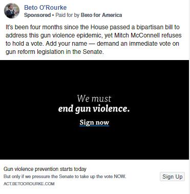 Beto O'Rourke Facebook Ads