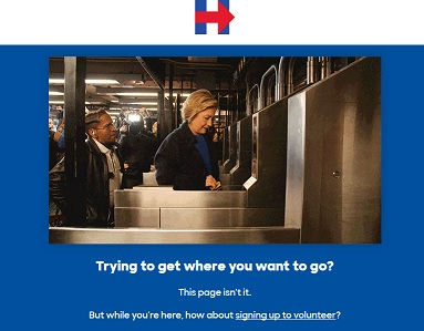 Hillary Clinton 404 page