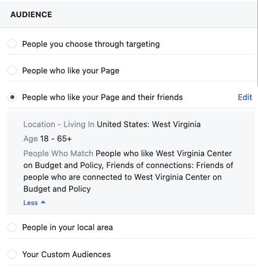 Fans and friends Facebook targeting