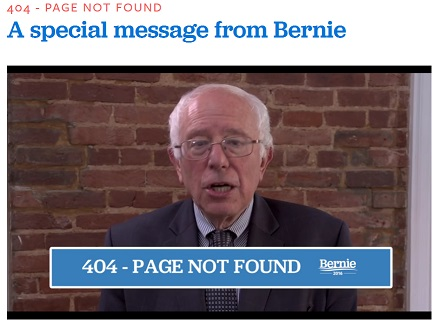 Bernie Sanders 404 page