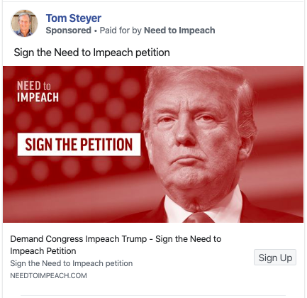 Tom Steyer list-building Facebook Ad