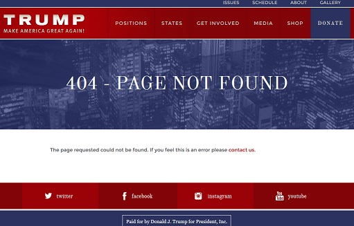 Donald Trump 404 page