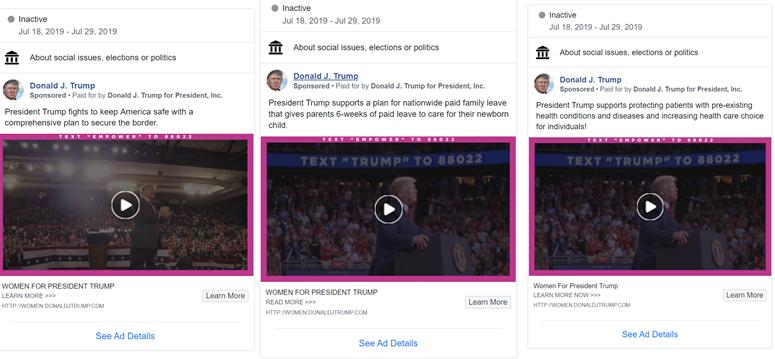 Trump Facebook Ad Examples