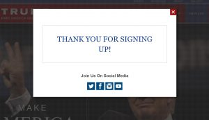 Donald Trump campaign website signup