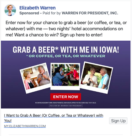 Elizabeth Warren list-building Facebook ad